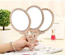 HD Handle Makeup Mirror Korean Retro Pattern Beauty Makeup Mirror European Portable Mirror Princess Hand Mirror