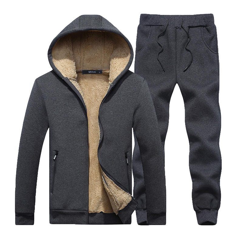 Couple Tracksuit Men Casual Cotton Knitted Hooded Warm Sweatshirt Male Winter Thick Lamb Cashmere Fleece Women Jacket+Pant 2PC 12
