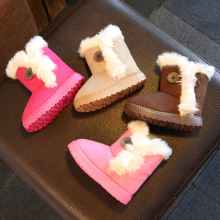CMSOLO Boots For Girls Warm Rubber Boot Boys Plush Winter Children Brown Shoes Buckle Fur Boots For Girls Flat Rubber Boot Kids(China)