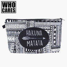 HAKUNA MATATA Portable Type Make up Bags Cosmetic Case Maleta de Maquiagem Bags Storage Travel Makeup Bag Brand Pencil case(China)