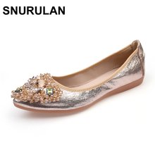 SNURULAN New Women Crystal Ballet Flat Folding Shoe 2017 Casual Rhinestone Soft Driving Flat Dancing Egg Rolls Boat Shoes Loafe(China)