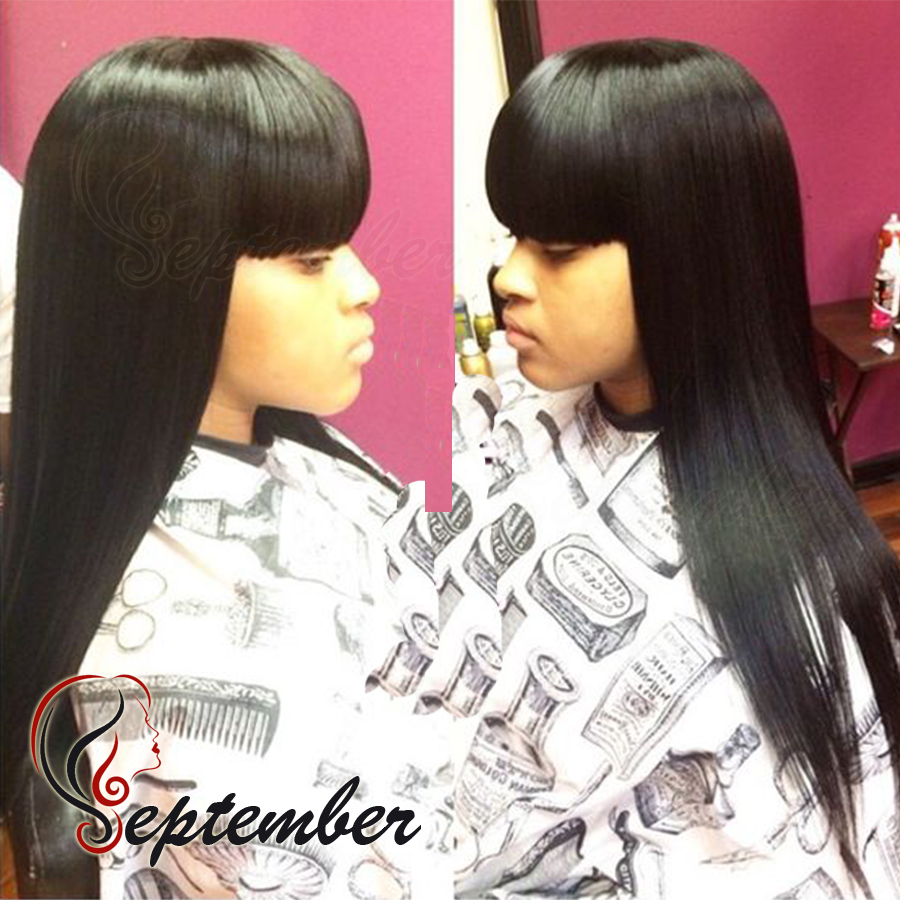 Long Straight hair with bangs black color synthetic lace front wig silky straight synthetic lace front wig for black women wigs<br><br>Aliexpress
