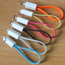 20cm Colorful Key Chain Key Ring Keychain Micro USB Charger Cable Cord for Android Samsung Huawei xiaomi iPhone 5 5s 6 6s plus