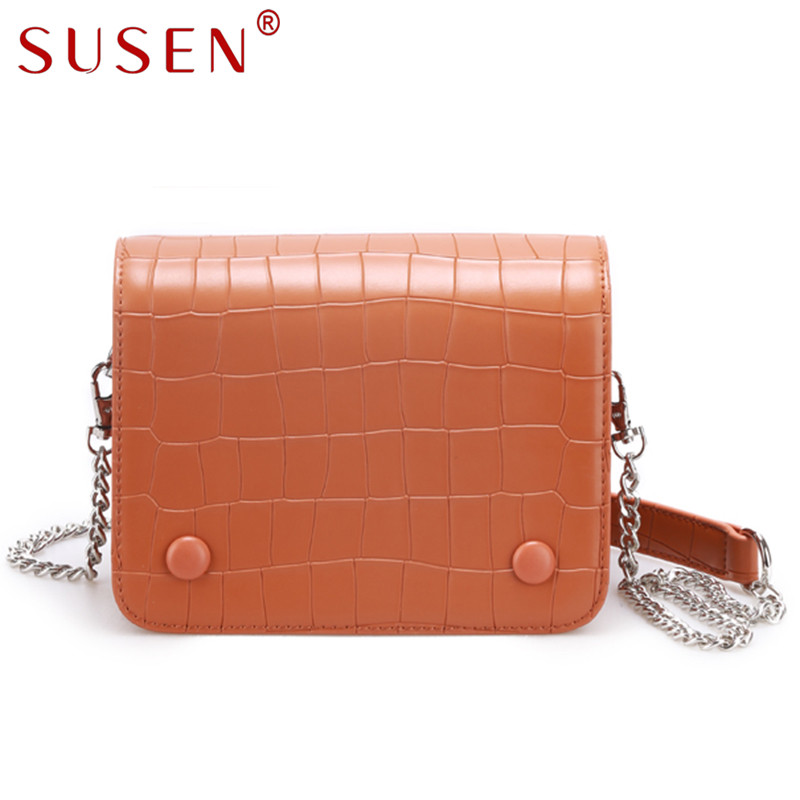 SUSEN 9186 High Quality hot sale women Lady Neutral wind Simple Mini Crocodile pattern Material Shoulder Messenger crossbody bag<br>