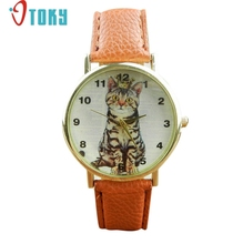 Hot hothot cat watch Neutral Diamond Lovely Cats Face Faux Leather Quartz Watches Dropshipping