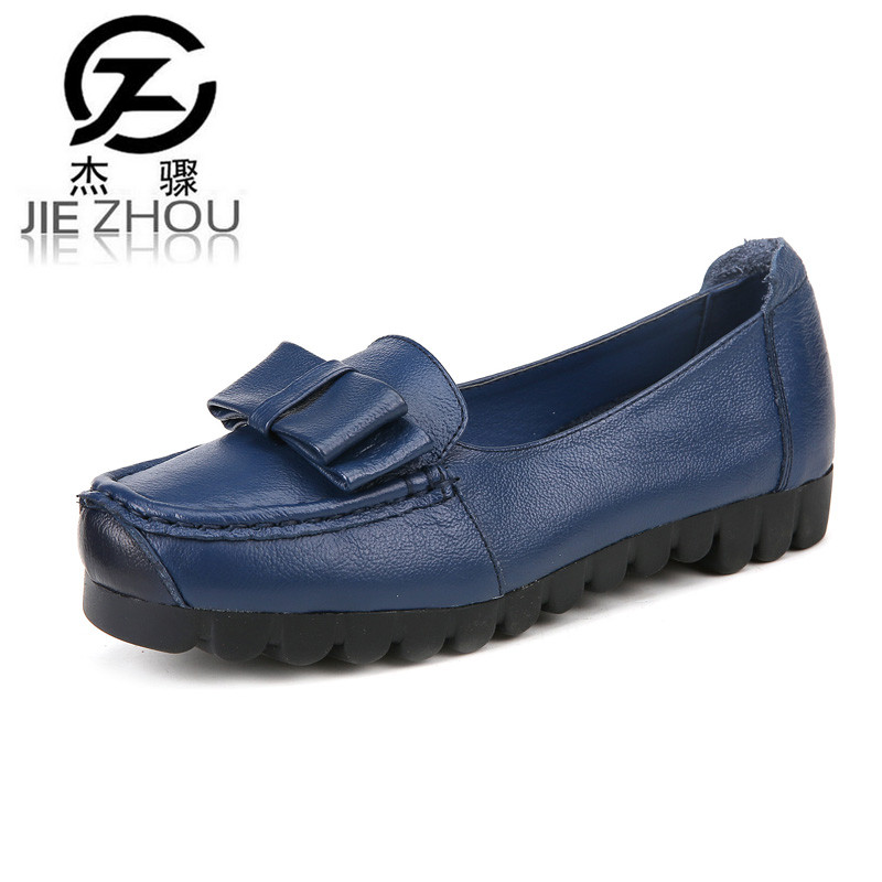 Spring Genuine leather soft soles comfortable middle-aged casual shoes non-slip leather flat shoes Women shoes obuv Schuhe <br>