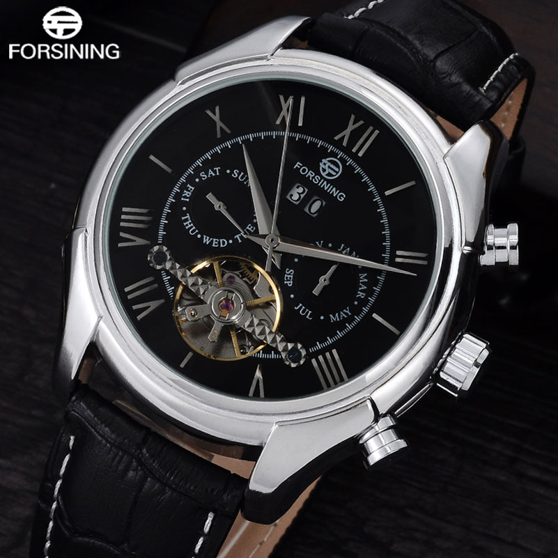FORSINING Brand 2017 New Men Automatic Mechanical Watch Mens Leather Band Luxury Auto-Calendar Watches Rome Number Design Clock<br>