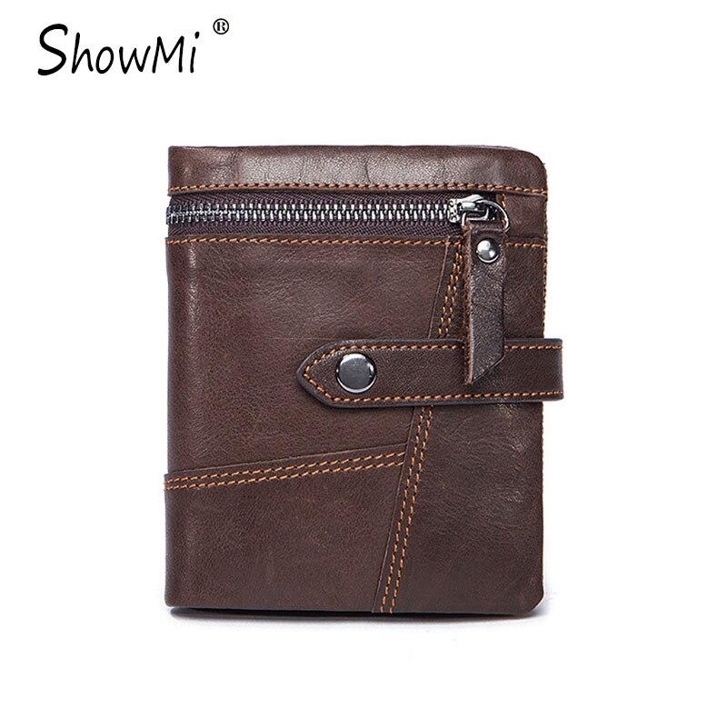 ShowMi 2017 Luxury Brand Men Wallet Genuine Leather Credit Card Holder Small Purse for Men 3 Fold Cowhide Black Male Wallet<br><br>Aliexpress