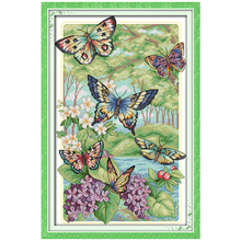 Butterflies Fly in the Forest Counted Cross Stitch 11CT 14CT Cross Stitch Sets Wholesale Cross-stitch Kits Embroidery Needlework