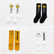 1-5Y 2017 Autumn Cartoon Children Socks Smiling Face Cotton Kids Knee High Socks Boys Girls Middle Socks Clothing Accessories