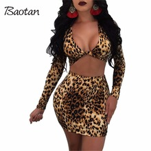 women's suits 2017 autumn two piece set leopard sexy club sets v-neck skirts suits short mini dress
