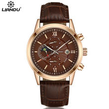 LIANDU Men's Fashion Quartz Watch 24 Hours Function & Moon Phase Multiple Time Zone Leather Strap Black Business Men Watches