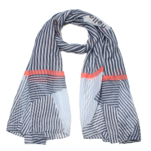 Women Scarf Winter and Autumn 2017 Stripe Patch Navy Bandana Scarf Poncho Polyester 130*200cm Large Size Hijab Female Wrap Shawl(China)