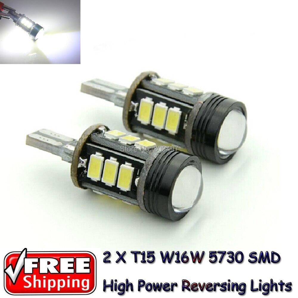 2 x T15 W16W LED COB LED + 12 SMD 5730 Super White Canbus LED Bulbs Reverse Light Bulbs For Tesla Honda Volkswagen Lada<br><br>Aliexpress