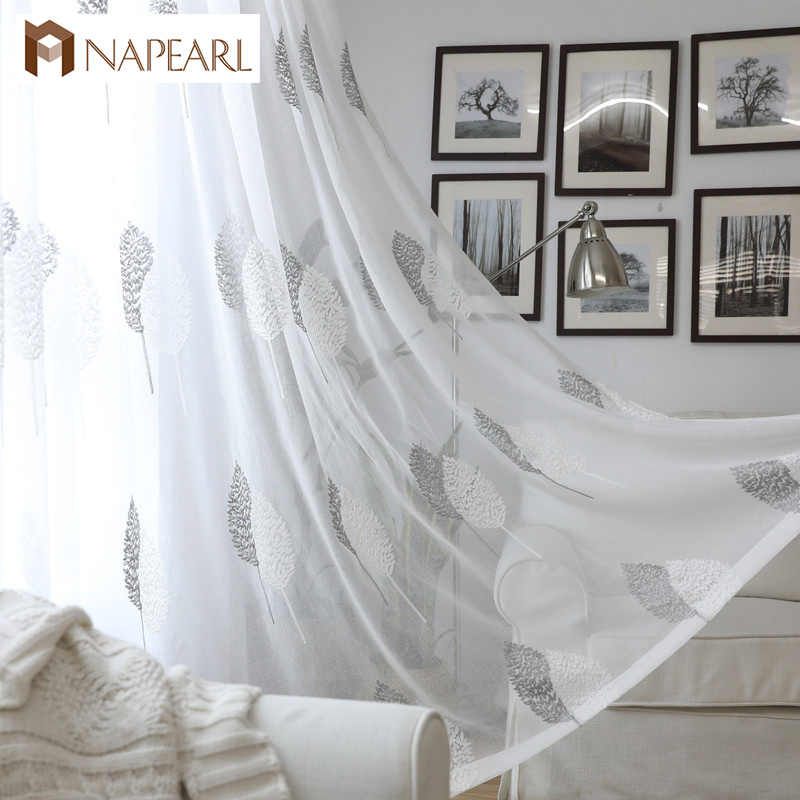 NAPEARL Embroidered organza sheer curtain tulle fabric leaves transparent bedroom living room window drapes modern curtain white