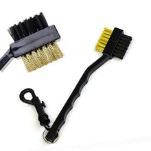2 Sided Brass Wires Nylon Golf Brush Clip Groove Ball Cleaner Golf Stick Brush Cleaning Kit Tool