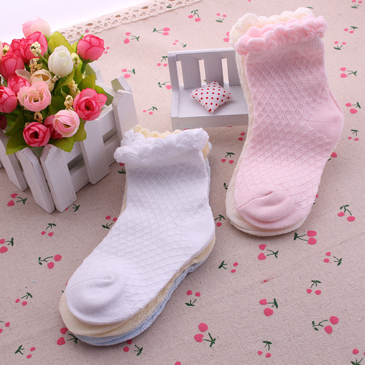 5 Pairs/Lot Mesh Thin Girls Socks For Children Kids New Summer Baby Cotton Soild Candy Colors Lace Ruffle Short Girl Sock Set 7