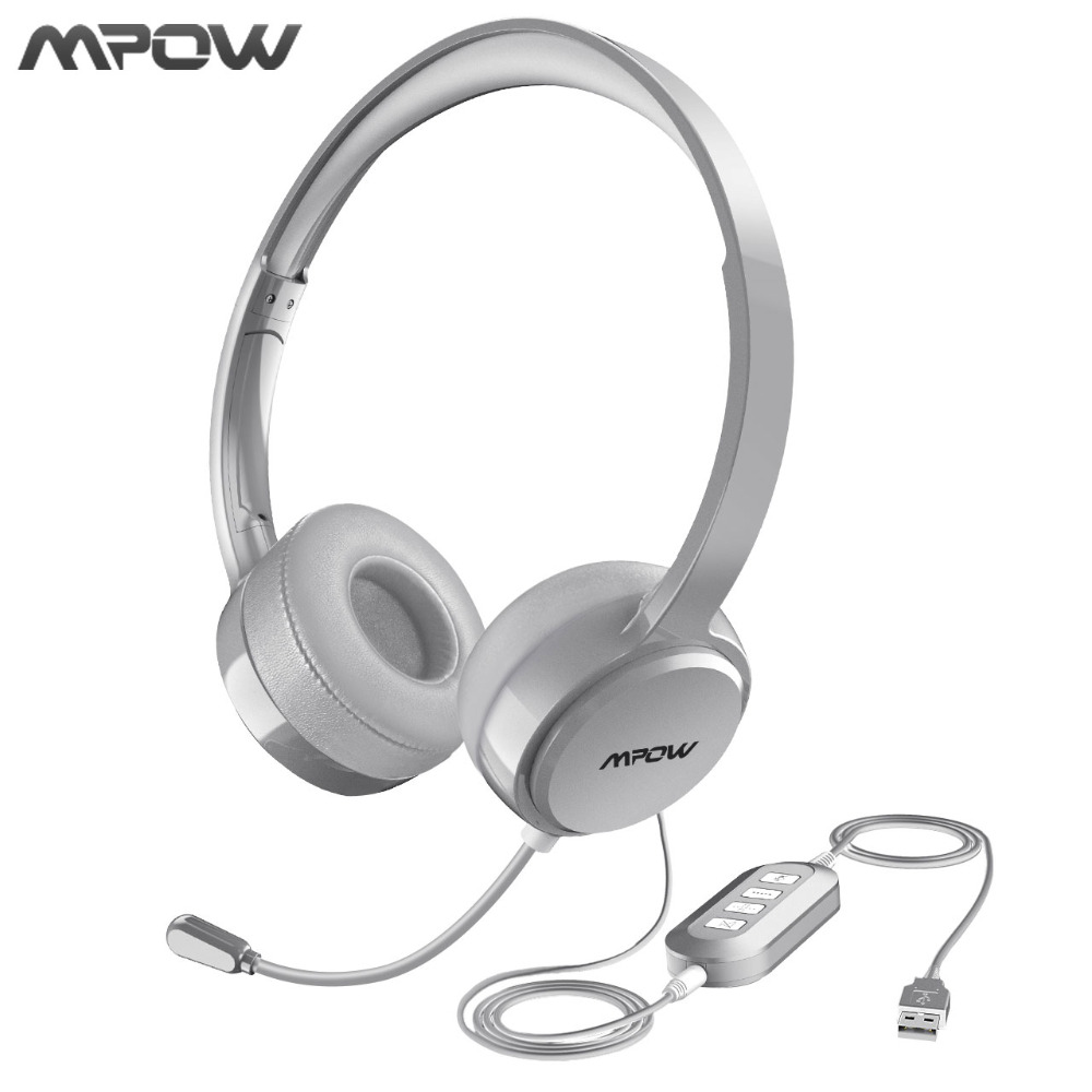 Mpow Wired Headphones Headset With Noise Reduction Sound Card 3.5mm/ USB Plug Earphone For Skype Call Center PC Phones Pad Table<br>