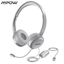 Mpow Wired Headphones Headset With Noise Reduction Sound Card 3.5mm/ USB Plug Earphone For Skype Call Center PC Phones Pad Table(China)