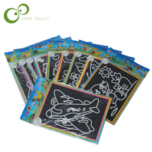 3pcs Child Kids Magic Scratch Art Doodle Pad Painting Card Educational Game Toys Early Learning Drawing Toys ,1LOT=6 Designs