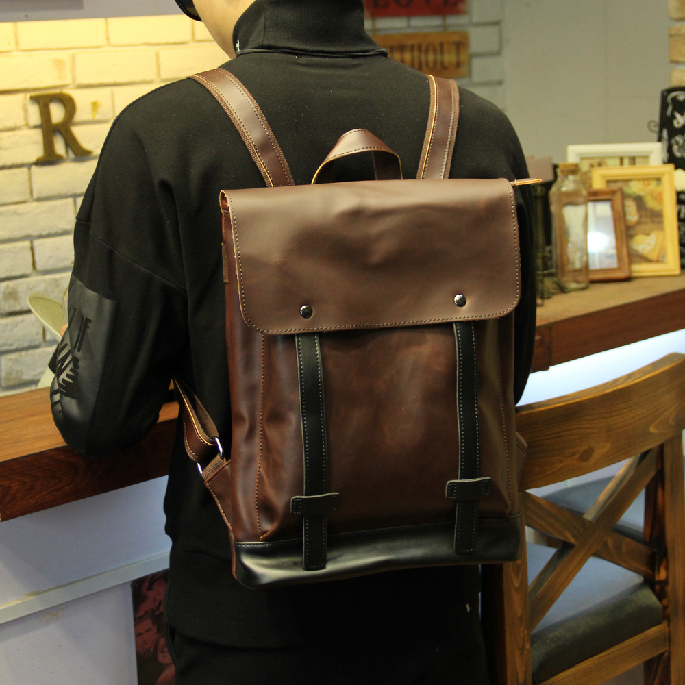 ETONWEAG Brands Cow Leather School Backpacks For Boys Brown Belts Vintage School Bags Preppy Style Travel Backpack Men BagPack<br>