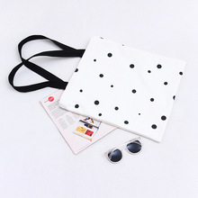 Ladies Cute Dot Korea Handbags Two Shoulder Student Canvas Bags Simple Style ECO Shopping Tote Bolsa Feminina Bech Bag