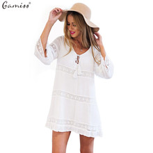 Gamiss Spring Women Summer Dress Female Sexy Hollow 3/4 Sleeve Lace Boho Beach Dress Casual Loose White Short Mini Dress vestido