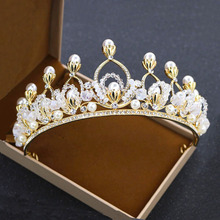 Romantic Bridal Tiara Crowns Princess Queen Rhinestone Golden Color Headband Simulated Pearl Jewelry For Wedding Gift Classic(China)