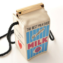2016 Small Shoulder Bags Cute Stereo Mini Milk Box Makeup Cartoon Bag Women Fashion Letter Canvas Shoulders Bag Free Shipping