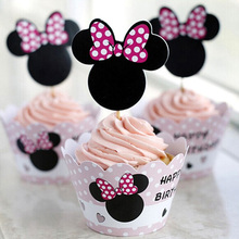 7Type 24Pcs/lot Mickey Mouse Cupcake Wrappers Toppers Cake Picks Birthday Party Kids Birthday Party Decoration Set CT1041