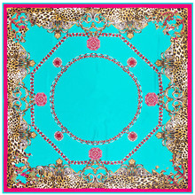 Luxury Brand Giant Scarf In 100% Silk Twill Silk Scarf For Women,Leopard Paisley Print Large 130cm Square Scarves Female Hijab(China)