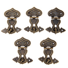 5Pcs 63x47mm Vintage Hardware Antique Brass Hasps Decorative Jewelry Gift Wooden Box Hasp Retro Suitcase Latch Hook With Screws