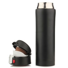 PHFU 500ML Travel Mug Tea Coffee Water Vacuum Cup Thermos Bottle Stainless Steel Black