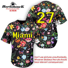 Horlohawk 2017 New Design Miami Baseball Jersey Embroidery Stitched #27 #16 #8 Black Floral Jersey Can do any number(China)