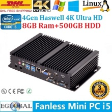 Eglobal Mini Computer Fanless PC Industrial PC IPC Embedded Intel Core i5 4200U 8GB Ram 500GB HDD 2*RJ232+1*Lan+HDMI+VGA+USB3.0