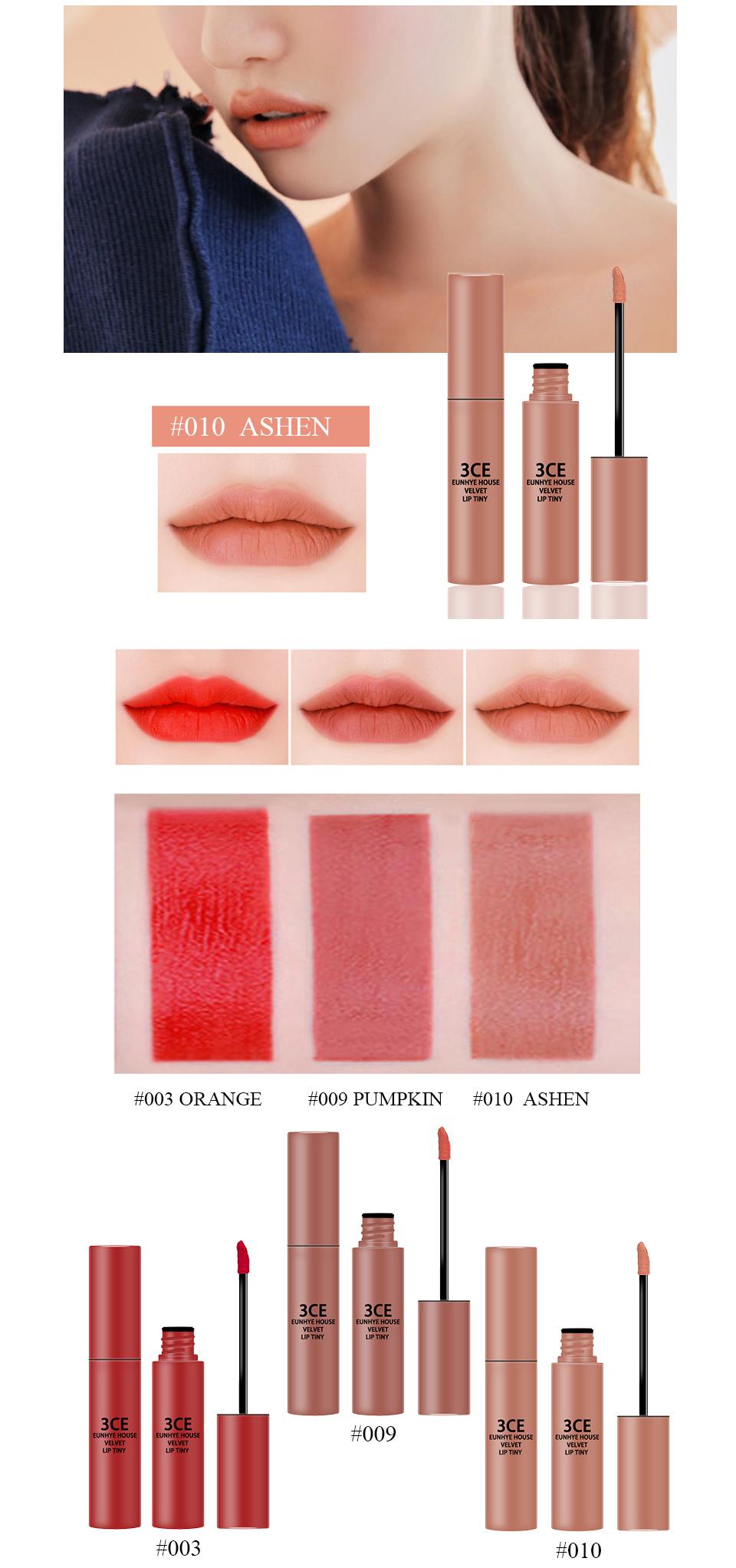 3CE Eunhye House Brand New Lip Cosmetics 3 colors Lip glaze Moisturizer Long-lasting Lip Makeup for common 8
