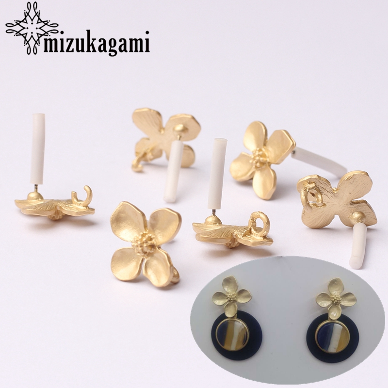 Zinc Alloy Fashion Golden Flowers Base Earrings Connector Charms 6pcs/lot For DIY Drop title=
