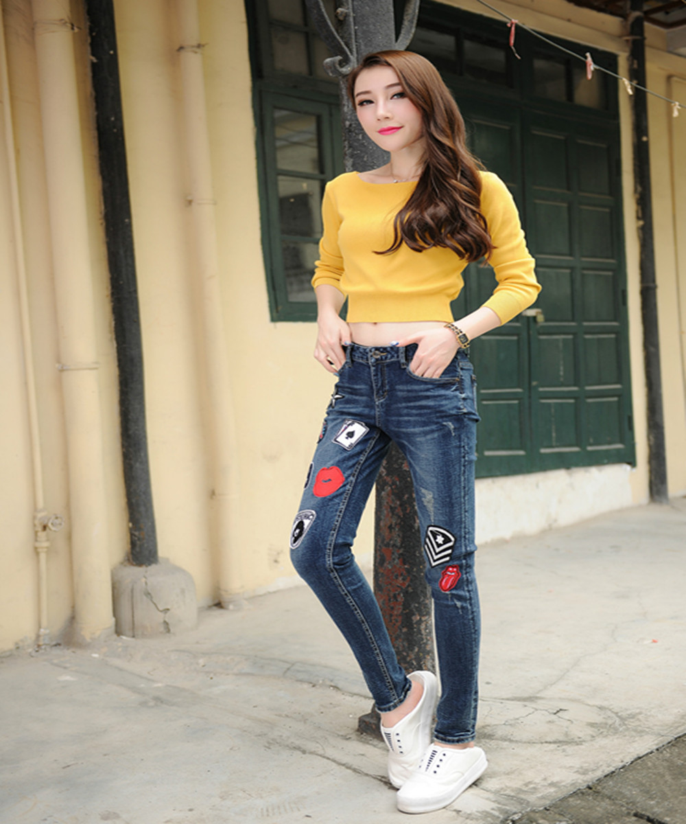 winter Popular explosion News pattern big girl Extra large code Ladies Leisure time Skinny jeans Add fertilizer  increase JeansОдежда и ак�е��уары<br><br><br>Aliexpress