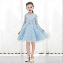 Little Girls Wedding Dresses 2017 Fall Princess Dress Fashion High-grade Children Party Dresses Elegant Cute Kids Clothing