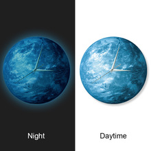 Glow In The Dark Earth  Wall Clock Home Decor Clocks Creative Watch Romantic Light 11.8""