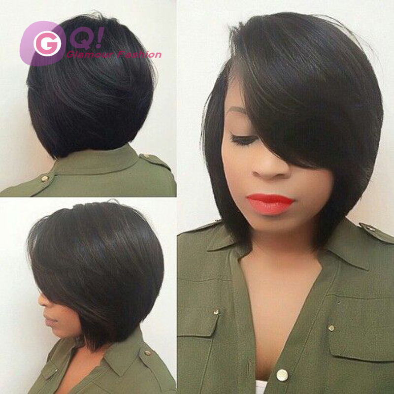2016 New 7A human hair bob wigs unprocessed brazilian glueless full lace &amp; lace front wigs bob cut wig for black women babyhair<br><br>Aliexpress