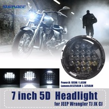 New Arrive 5D 7inch 105W Round LED H4 Headlight Motorcycle Headlamp For Harley Led Headlights For Jeep Wrangler Hummer lights