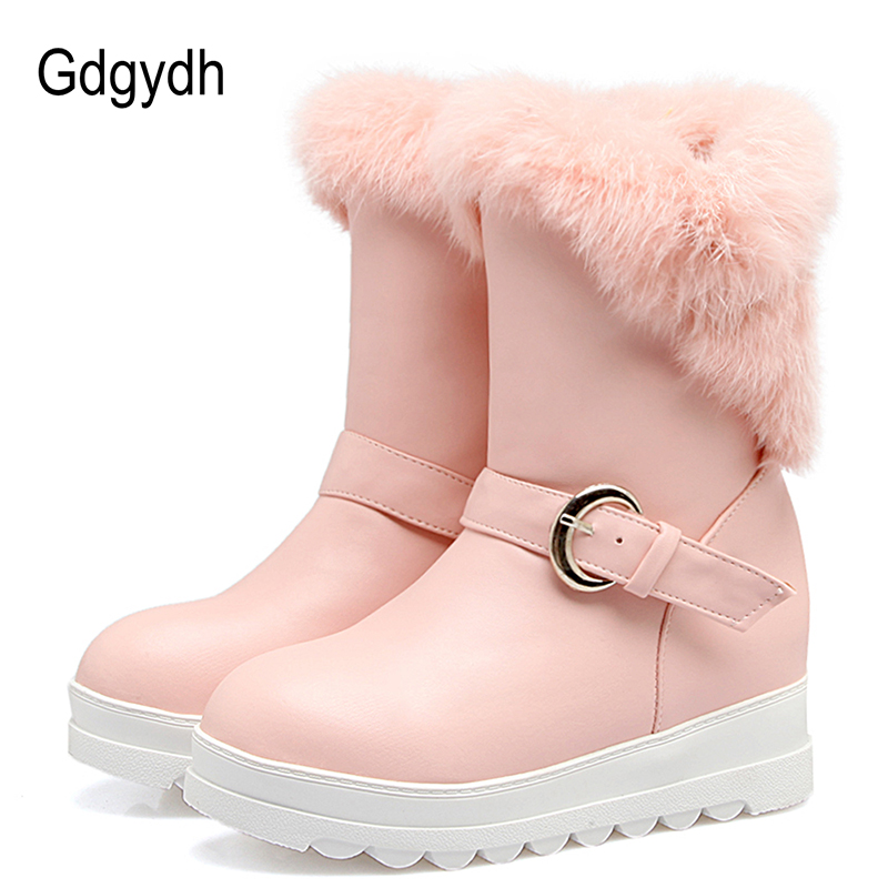 Gdgydh Fashion Buckle Snow Boots Woman Height Increasing Black White Pink Warm Ladies Thickened Fur Winter Shoes Plus Size 43<br>
