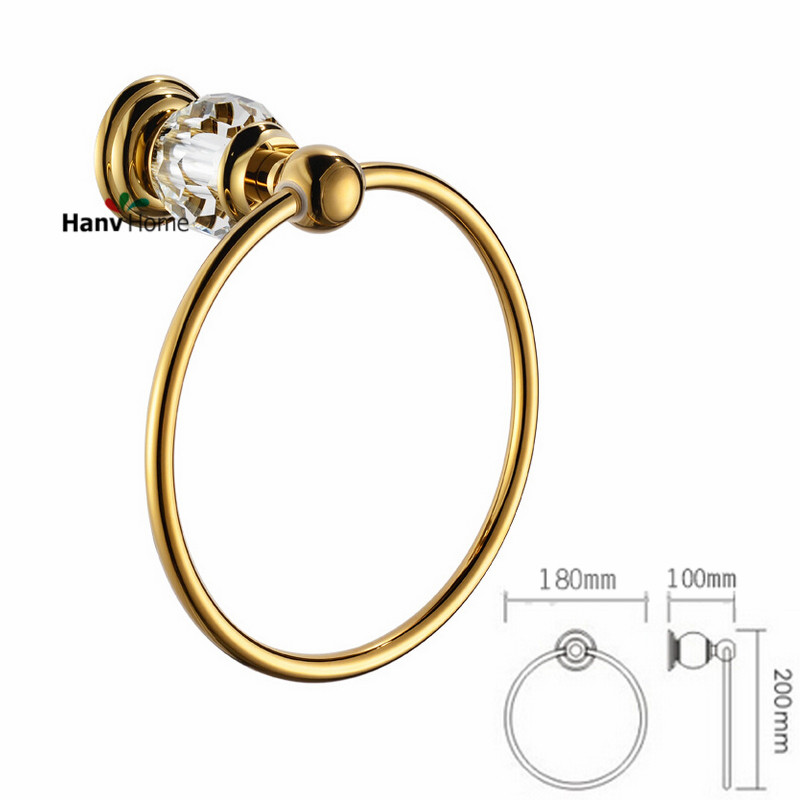 Luxury Crystal &amp; Brass Gold  Towel Ring,Towel Holder, Towel Bar Bathroom Accessories,Free Shipping<br><br>Aliexpress