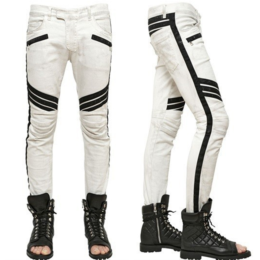 2017 Splicing skinny Slim Mens Fashion ripped jeans for men Small straight Fold white harem brand pants Four seasons suitableОдежда и ак�е��уары<br><br><br>Aliexpress
