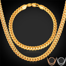 Gold/Rose Gold Color Chain For Men Necklace Bracelet Set Hot Fashion Men Jewelry Sets Wholesale NH739(China)