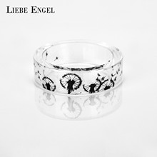LIEBE ENGEL Charm Handmade Dandelion Resin Rings For Women and Men Jewelry Ink Painting Scenery Inside Punk Finger Ring
