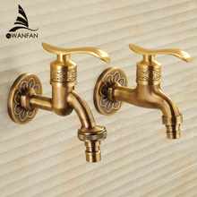 Bibcock Faucet Art Deco Antique Bronze Brass Bathroom Mop Faucet Wall Mounted Washing Machine Outdoor Garden Water Taps HJ-8665F(China)