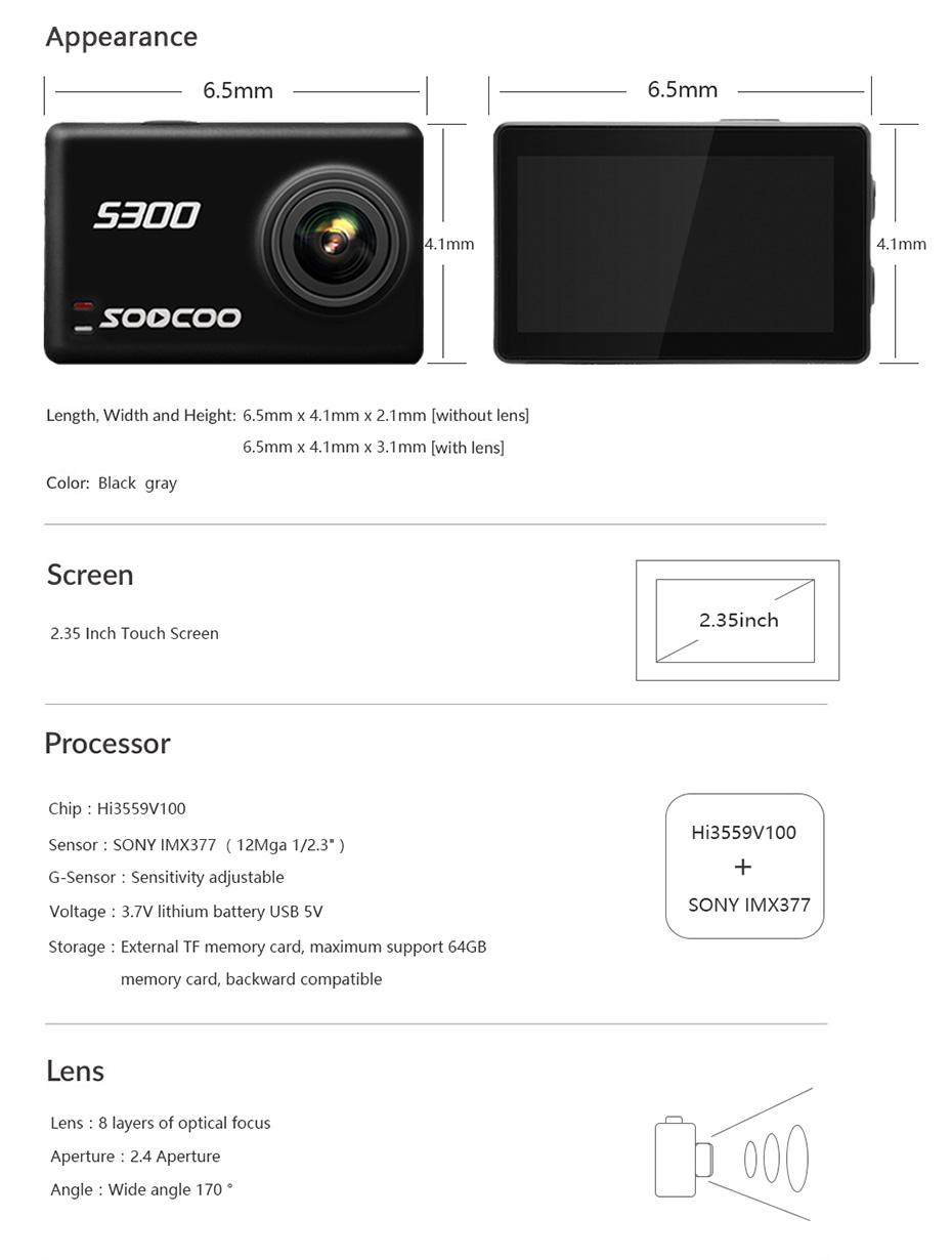 SOOCOO S300 4K 30FPS Sports Camera 2.35 Touchscreen Hi3559V100 IMX377 EIS Wifi External Mic GPS (21)