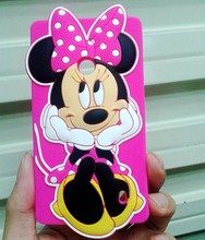 Cute Cartoon 3D New Hot Pink Minnie Mouse Cell Phone Soft Rubber Silicon Cover case For Nokia Lumia 520(China)